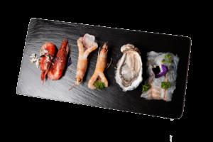 Tris di crudi di pesce Campisi ristorate Roma